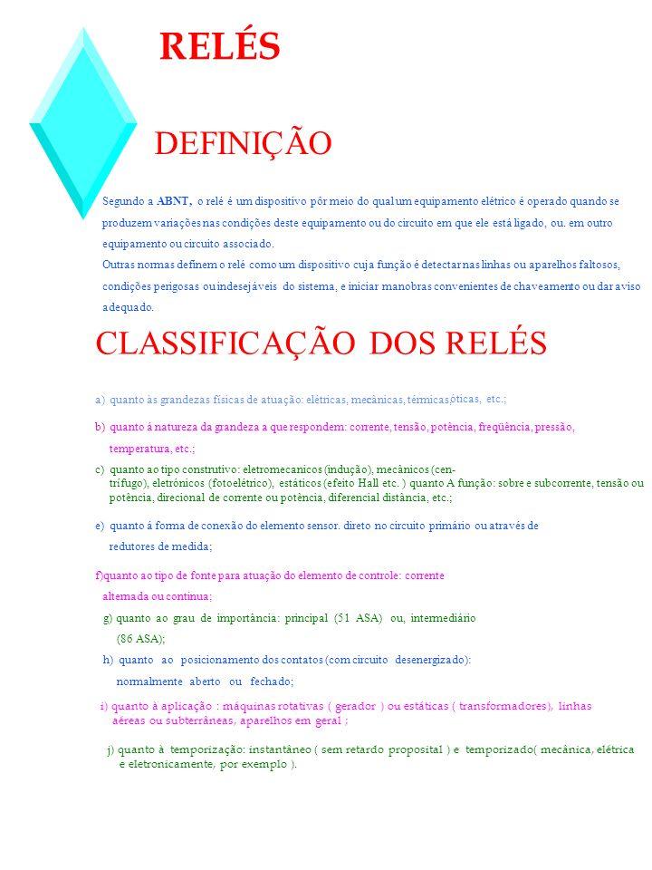 RELÉS DEFINIÇÃO CLASSIFICAÇÃO DOS RELÉS