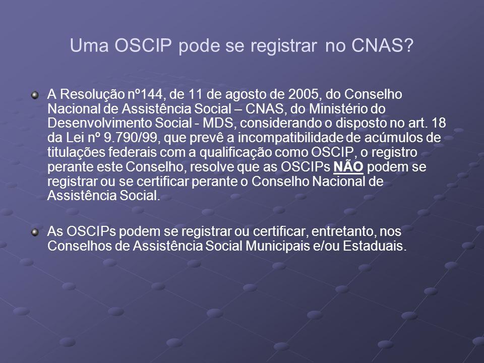 Uma OSCIP pode se registrar no CNAS