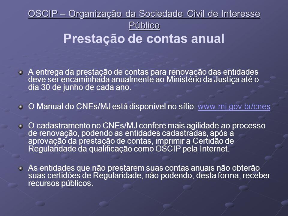 OSCIP – Organização da Sociedade Civil de Interesse Público Prestação de contas anual