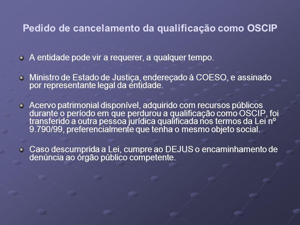 Pedido de cancelamento da qualificação como OSCIP
