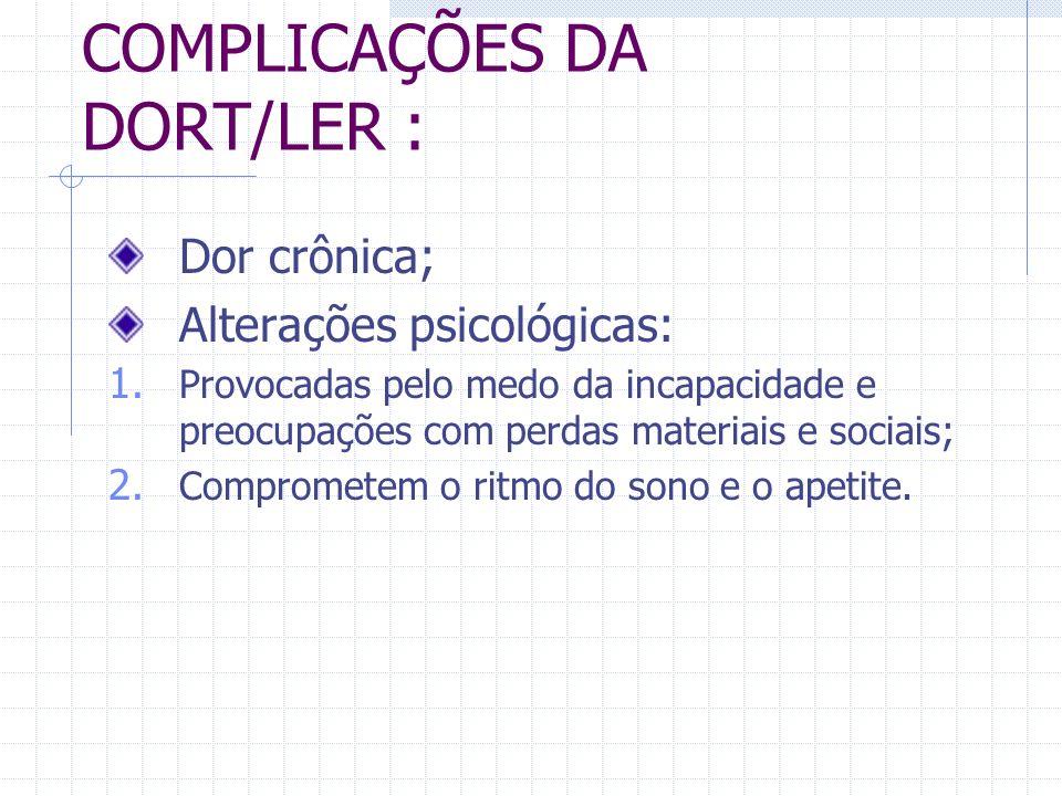 COMPLICAÇÕES DA DORT/LER :
