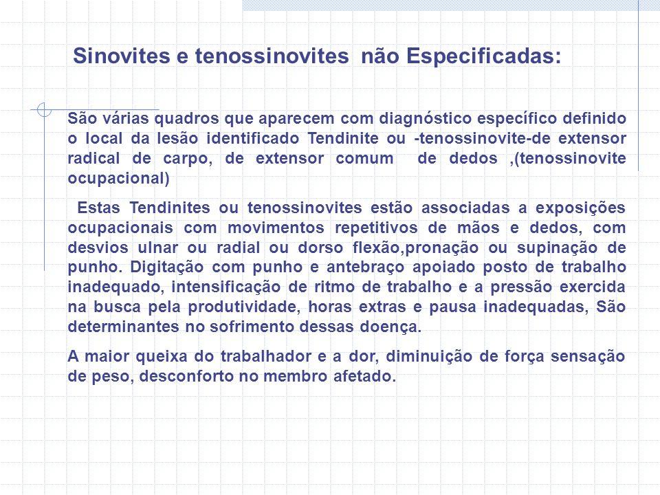 Sinovites e tenossinovites não Especificadas: