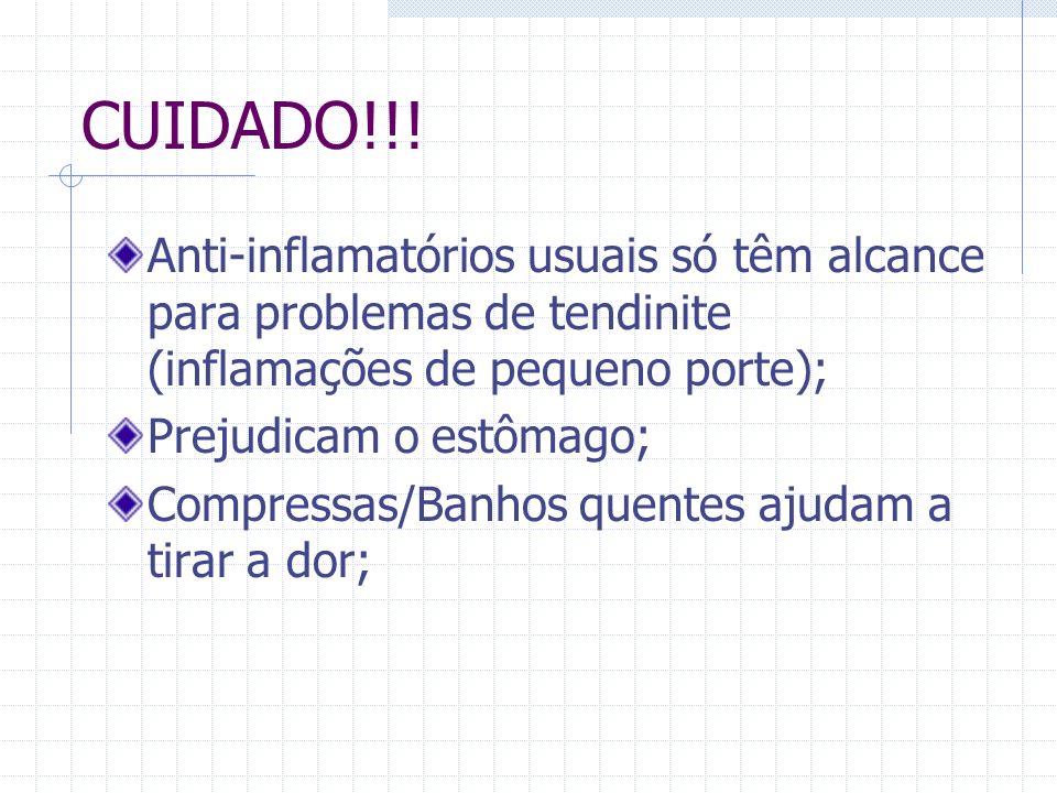 CUIDADO!!!Anti-inflamatórios usuais só têm alcance para problemas de tendinite (inflamações de pequeno porte);