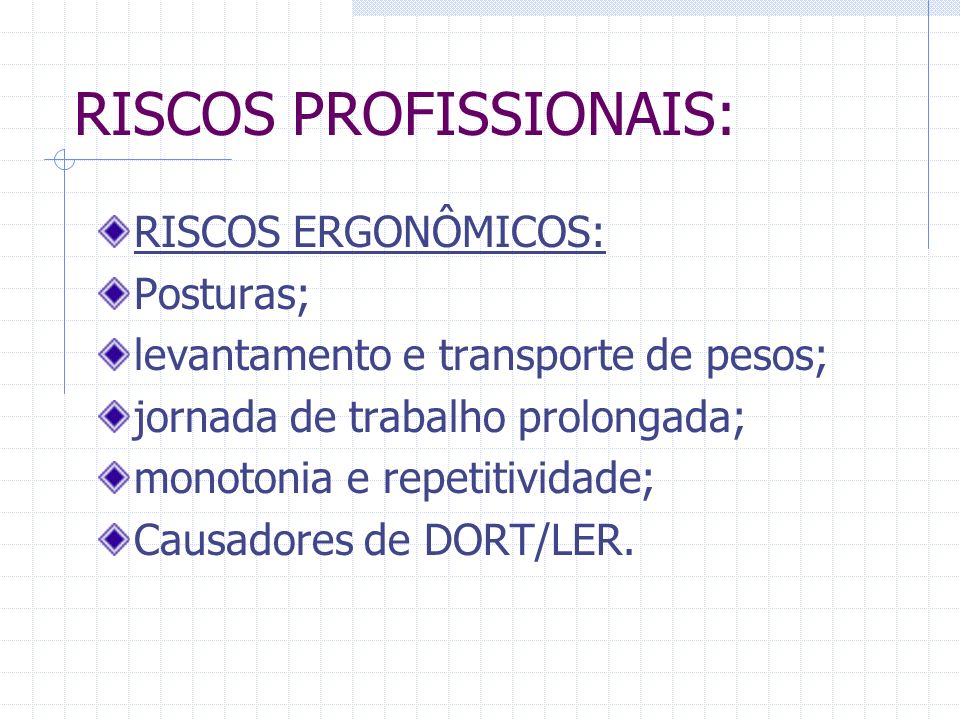 RISCOS PROFISSIONAIS: