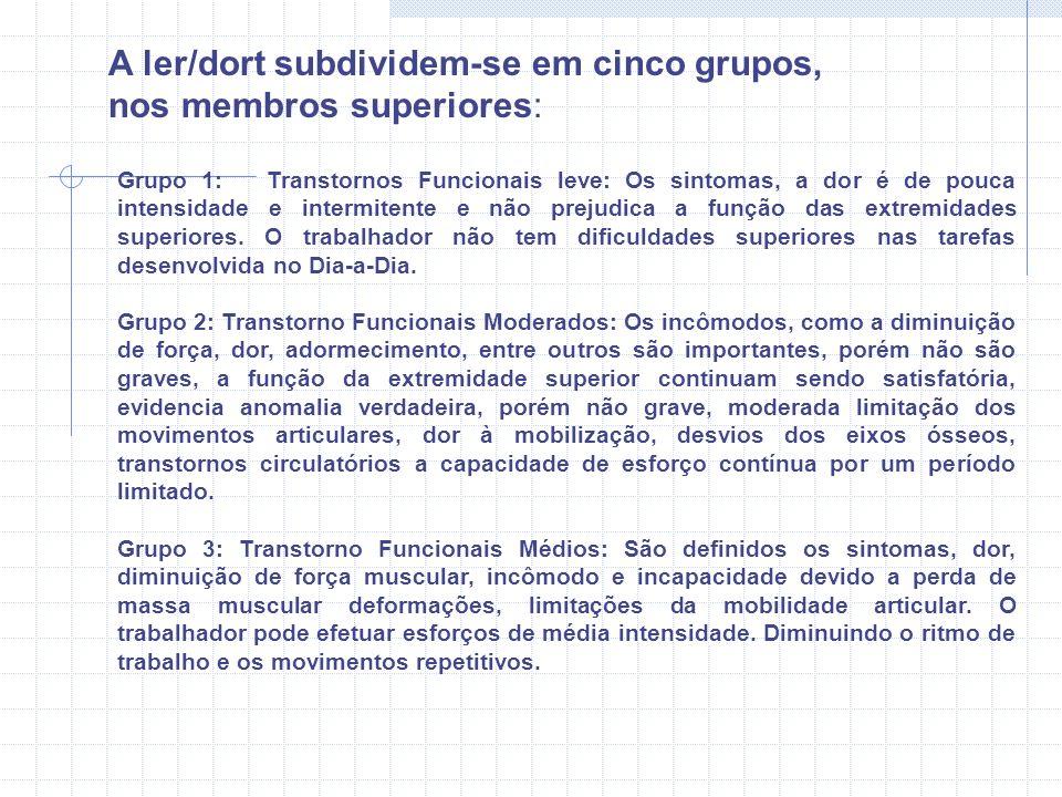 A ler/dort subdividem-se em cinco grupos, nos membros superiores:
