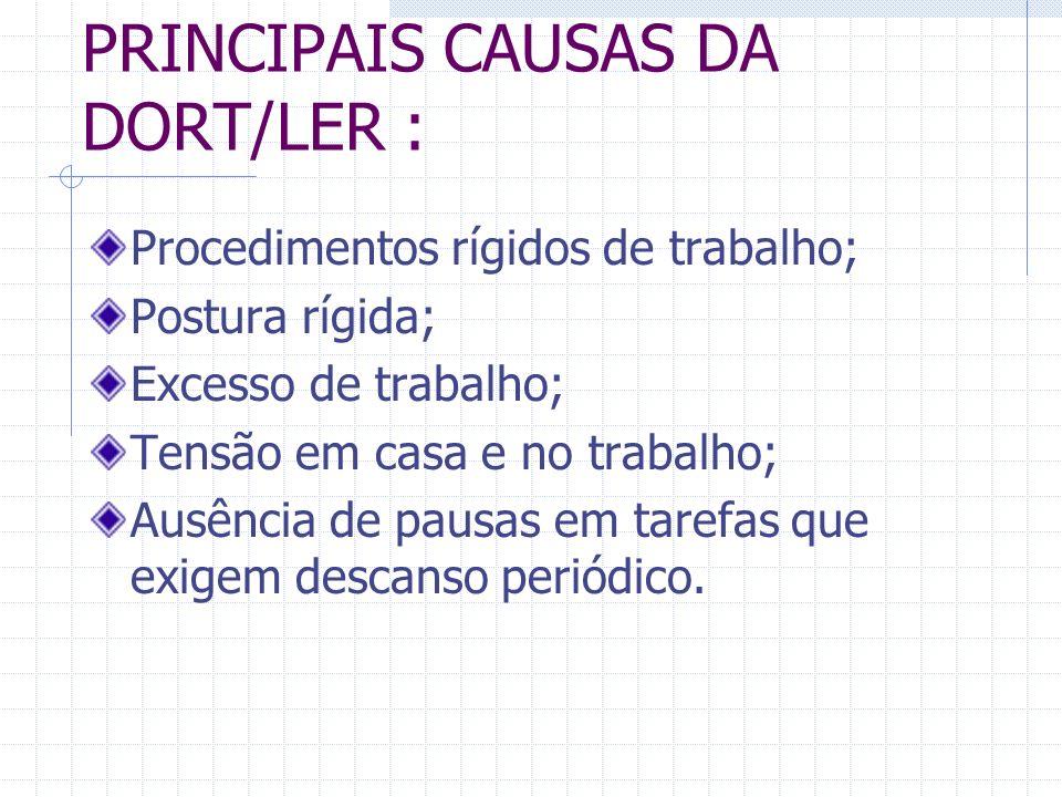 PRINCIPAIS CAUSAS DA DORT/LER :