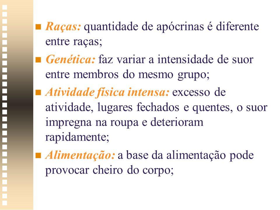 Raças: quantidade de apócrinas é diferente entre raças;