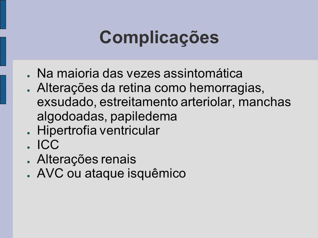 Complicações Na maioria das vezes assintomática
