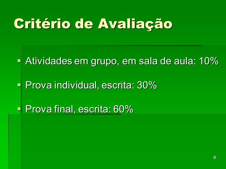 Critério de Avaliação Atividades em grupo, em sala de aula: 10%