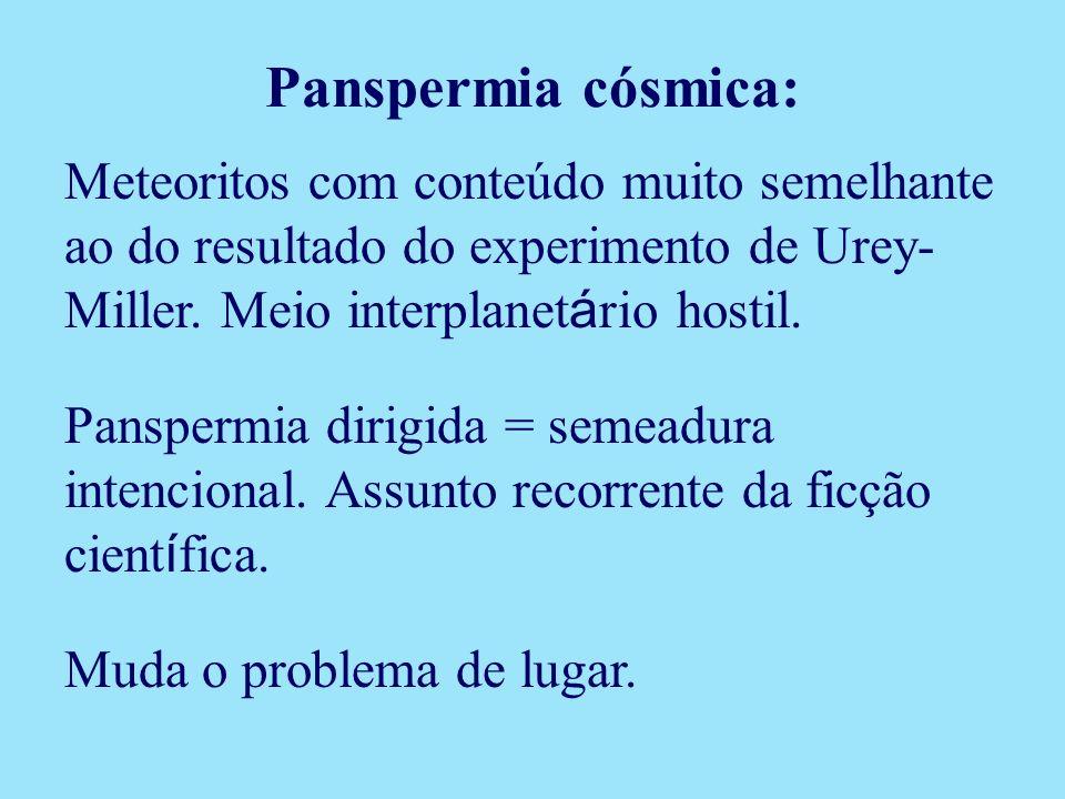 Panspermia cósmica: Meteoritos com conteúdo muito semelhante ao do resultado do experimento de Urey-Miller. Meio interplanetário hostil.