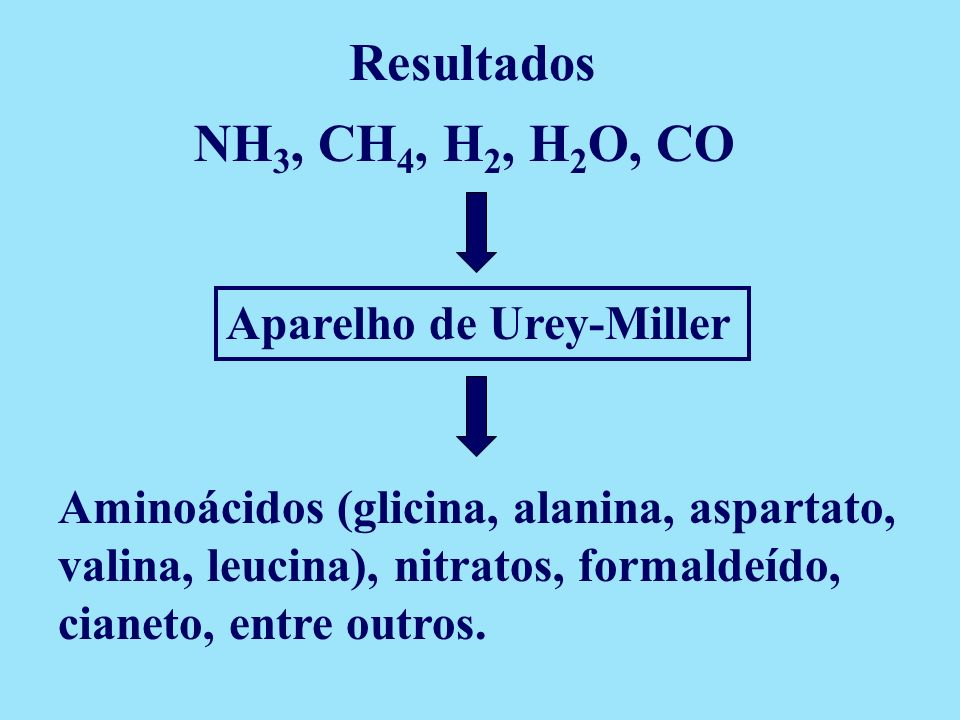 Resultados NH3, CH4, H2, H2O, CO Aparelho de Urey-Miller