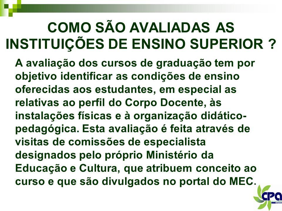 COMO SÃO AVALIADAS AS INSTITUIÇÕES DE ENSINO SUPERIOR
