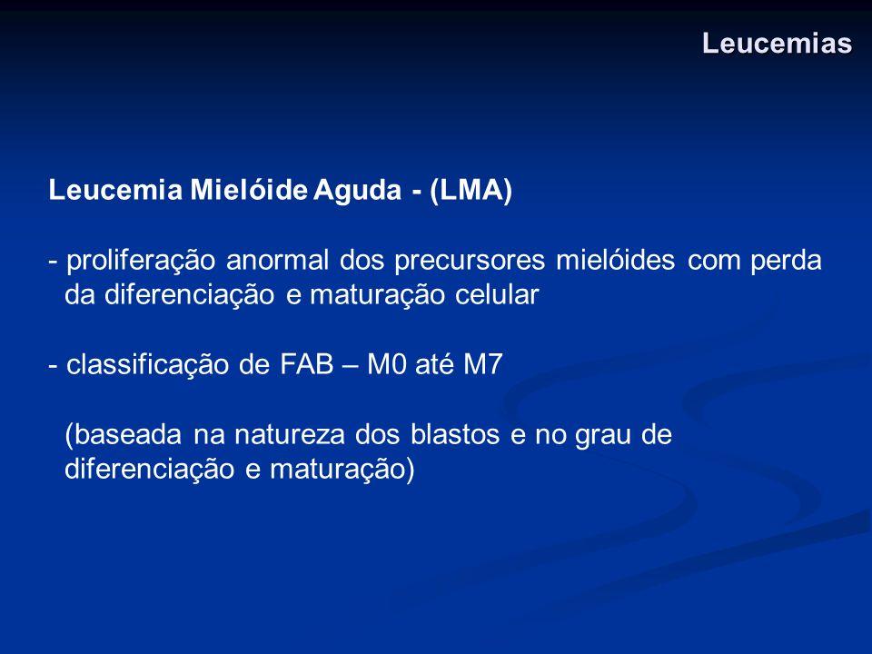 LeucemiasLeucemia Mielóide Aguda - (LMA) proliferação anormal dos precursores mielóides com perda. da diferenciação e maturação celular.