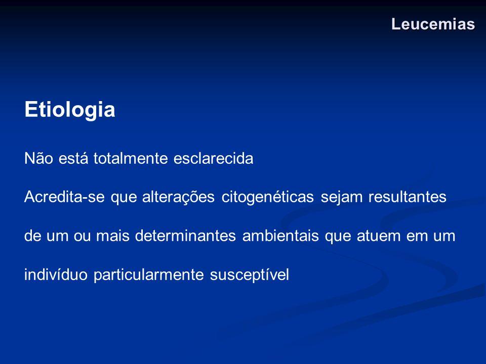 Etiologia Leucemias Não está totalmente esclarecida