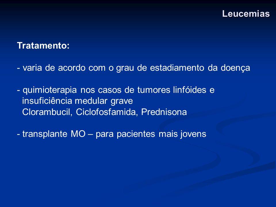 LeucemiasTratamento: varia de acordo com o grau de estadiamento da doença. quimioterapia nos casos de tumores linfóides e.