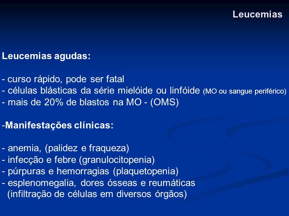 Leucemias Leucemias agudas: - curso rápido, pode ser fatal. células blásticas da série mielóide ou linfóide (MO ou sangue periférico)