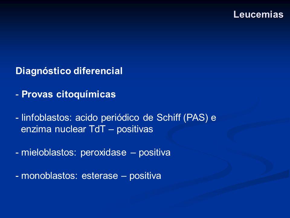 Leucemias Diagnóstico diferencial. Provas citoquímicas. linfoblastos: acido periódico de Schiff (PAS) e.