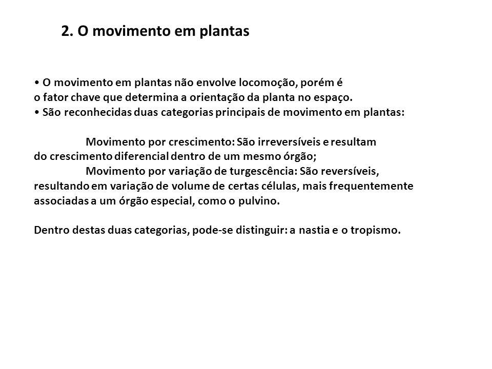 2. O movimento em plantas • O movimento em plantas não envolve locomoção, porém é. o fator chave que determina a orientação da planta no espaço.