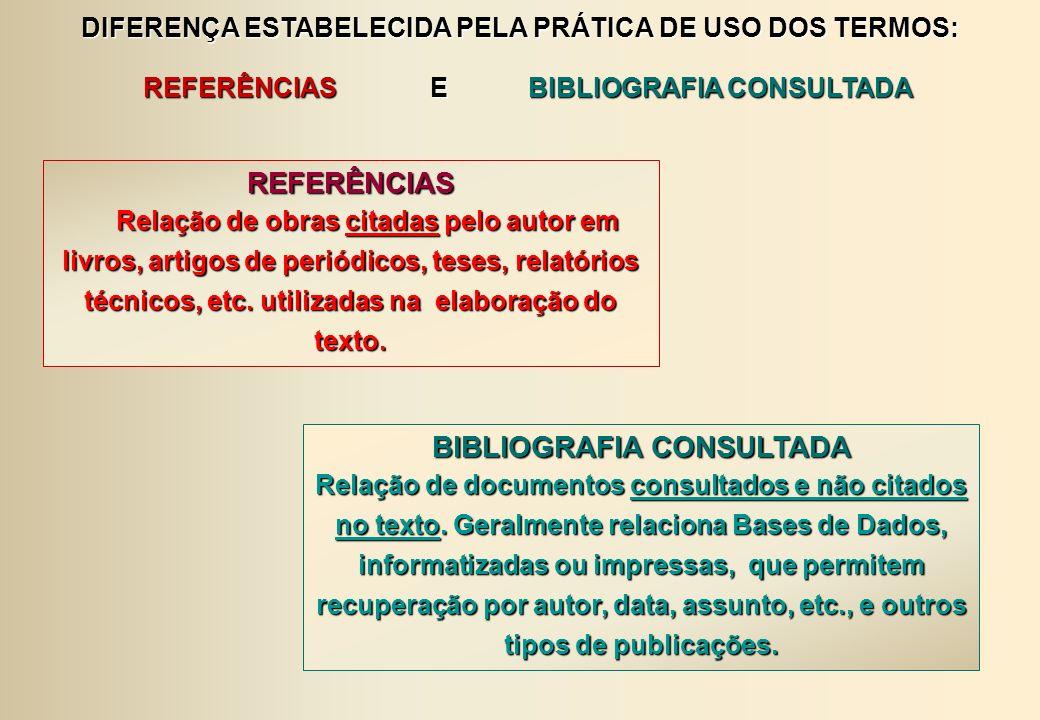REFERÊNCIAS BIBLIOGRAFIA CONSULTADA