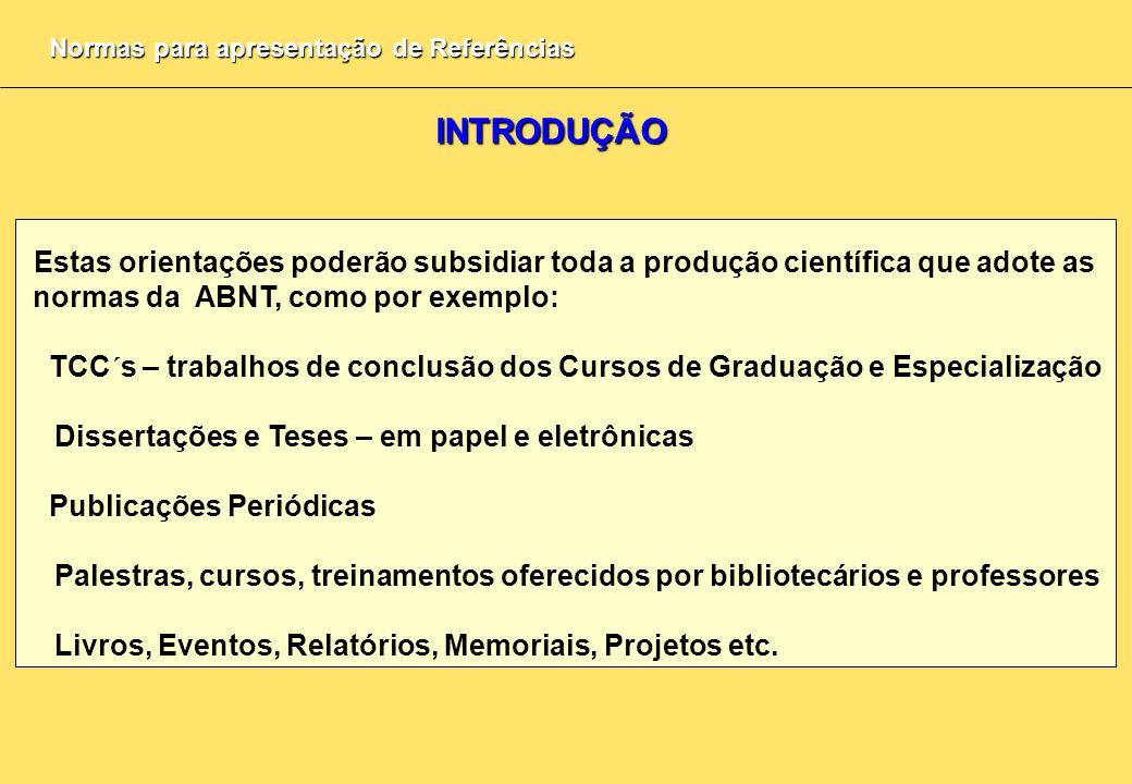 Normas para apresentação de Referências