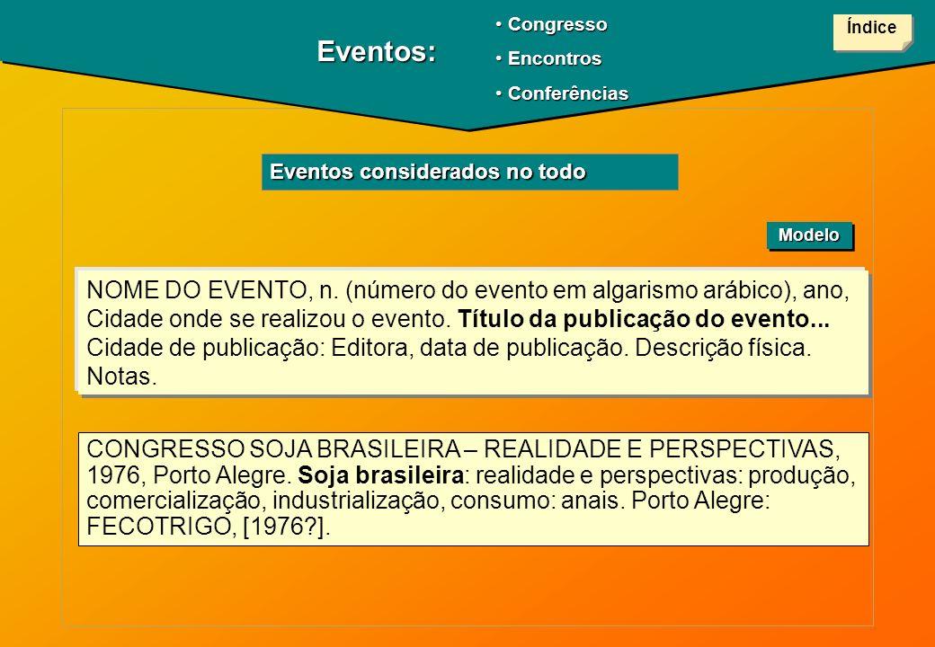 Congresso Encontros. Conferências. Índice. Eventos: Eventos considerados no todo. Modelo.