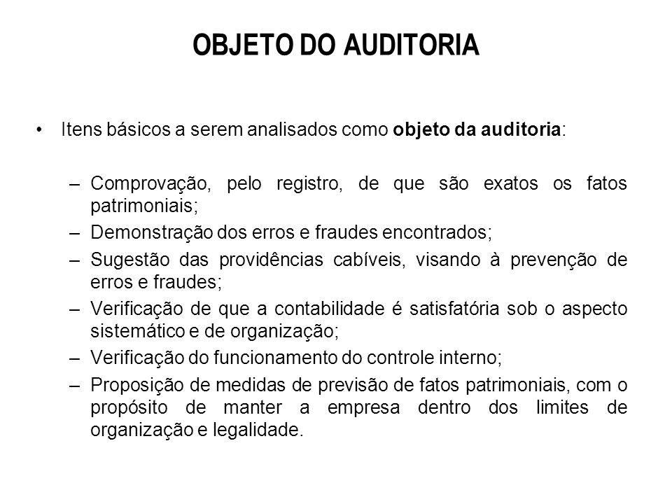 OBJETO DO AUDITORIA Itens básicos a serem analisados como objeto da auditoria: Comprovação, pelo registro, de que são exatos os fatos patrimoniais;