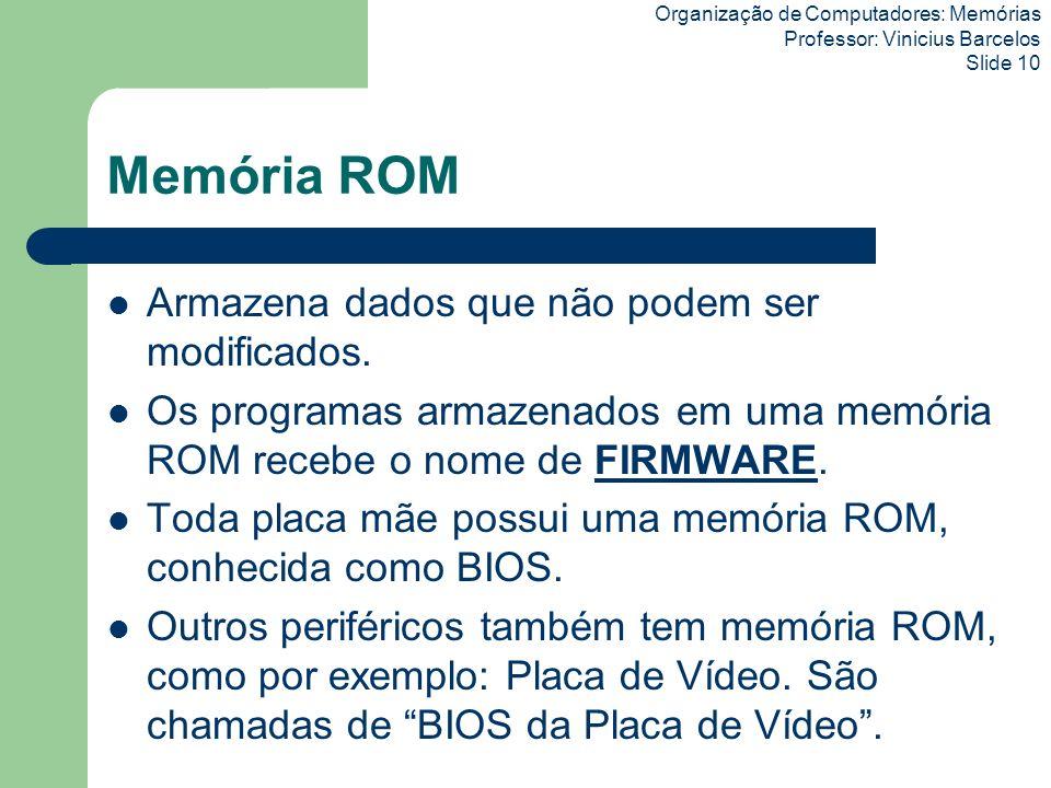 Memória ROM Armazena dados que não podem ser modificados.