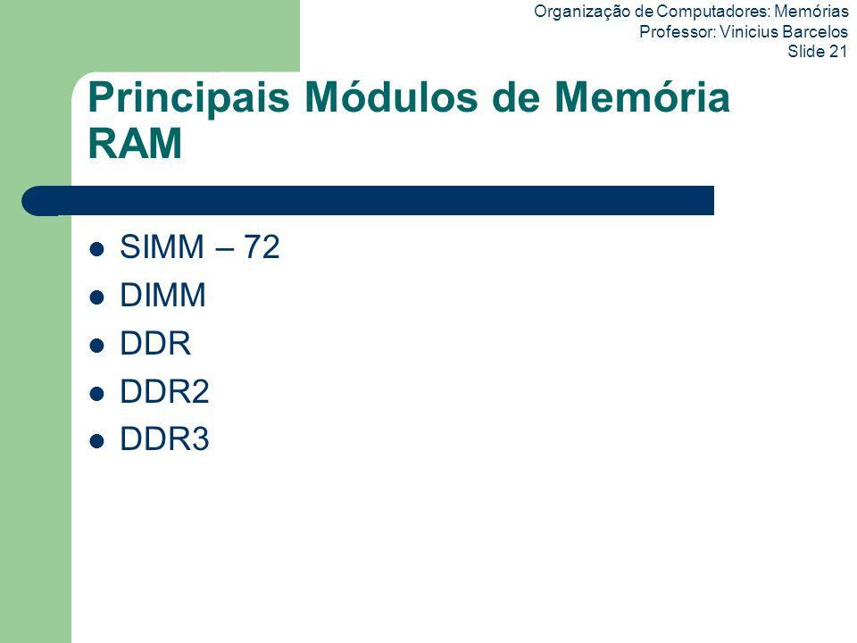Principais Módulos de Memória RAM