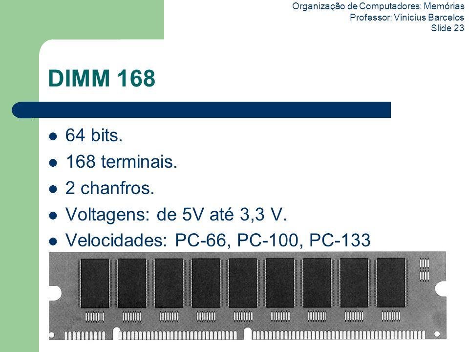 DIMM 168 64 bits. 168 terminais. 2 chanfros.