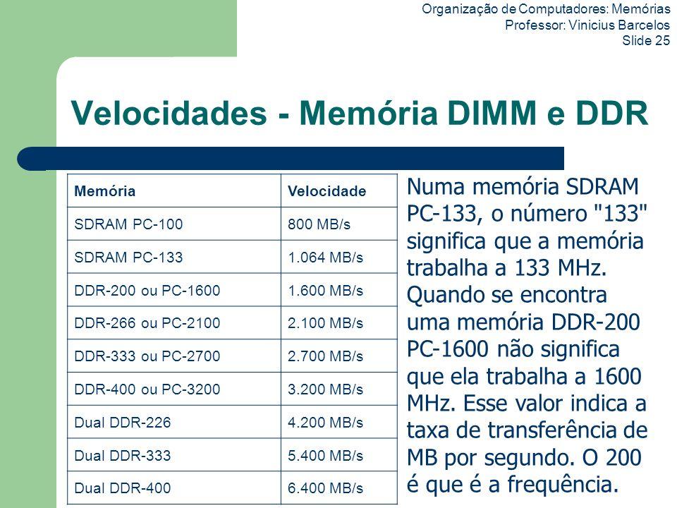 Velocidades - Memória DIMM e DDR