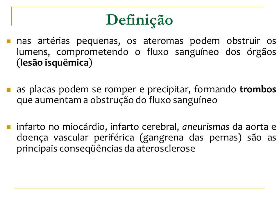 Definição nas artérias pequenas, os ateromas podem obstruir os lumens, comprometendo o fluxo sanguíneo dos órgãos (lesão isquêmica)