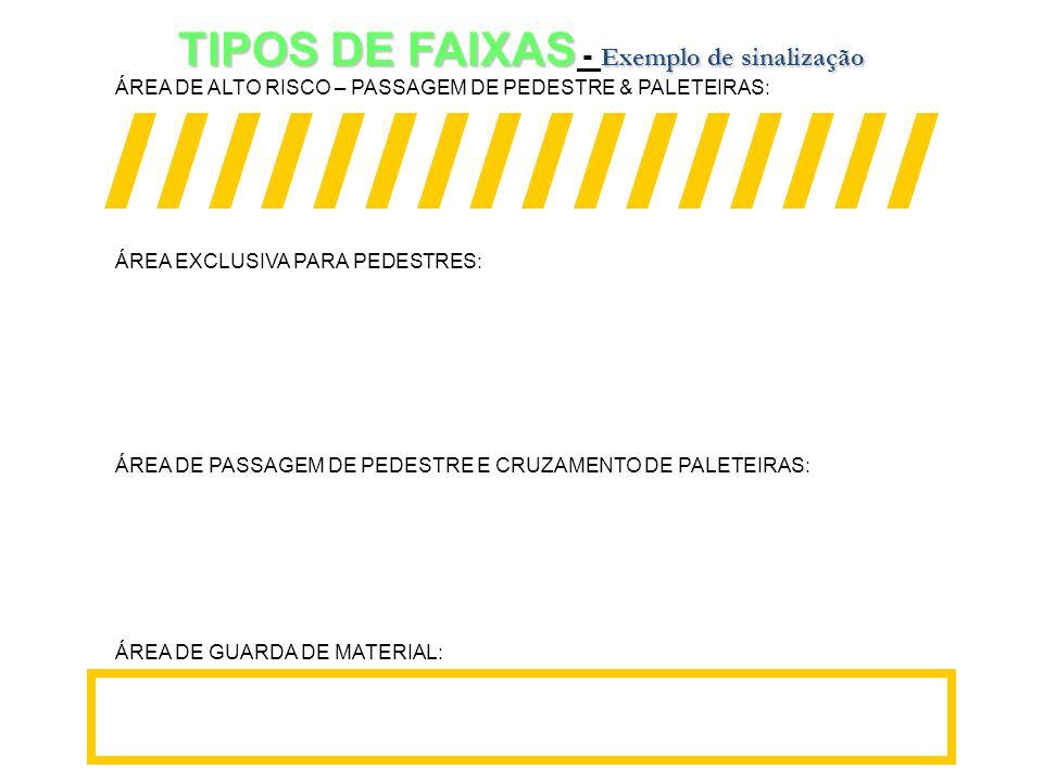 TIPOS DE FAIXAS - Exemplo de sinalização