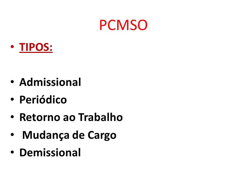 PCMSO TIPOS: Admissional Periódico Retorno ao Trabalho