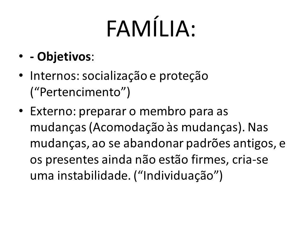 FAMÍLIA: - Objetivos: Internos: socialização e proteção ( Pertencimento )