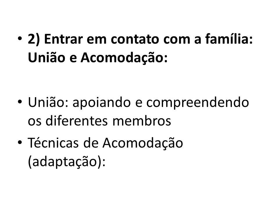 2) Entrar em contato com a família: União e Acomodação: