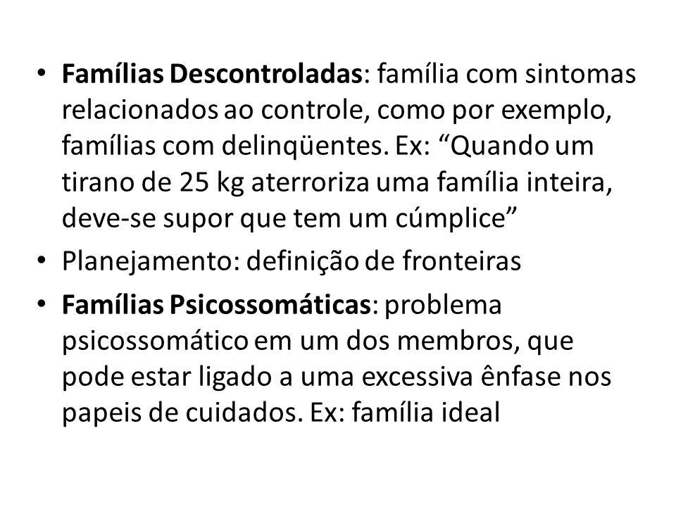 Famílias Descontroladas: família com sintomas relacionados ao controle, como por exemplo, famílias com delinqüentes. Ex: Quando um tirano de 25 kg aterroriza uma família inteira, deve-se supor que tem um cúmplice