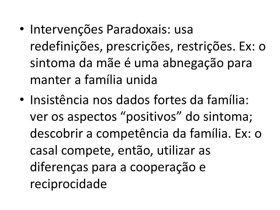 Intervenções Paradoxais: usa redefinições, prescrições, restrições