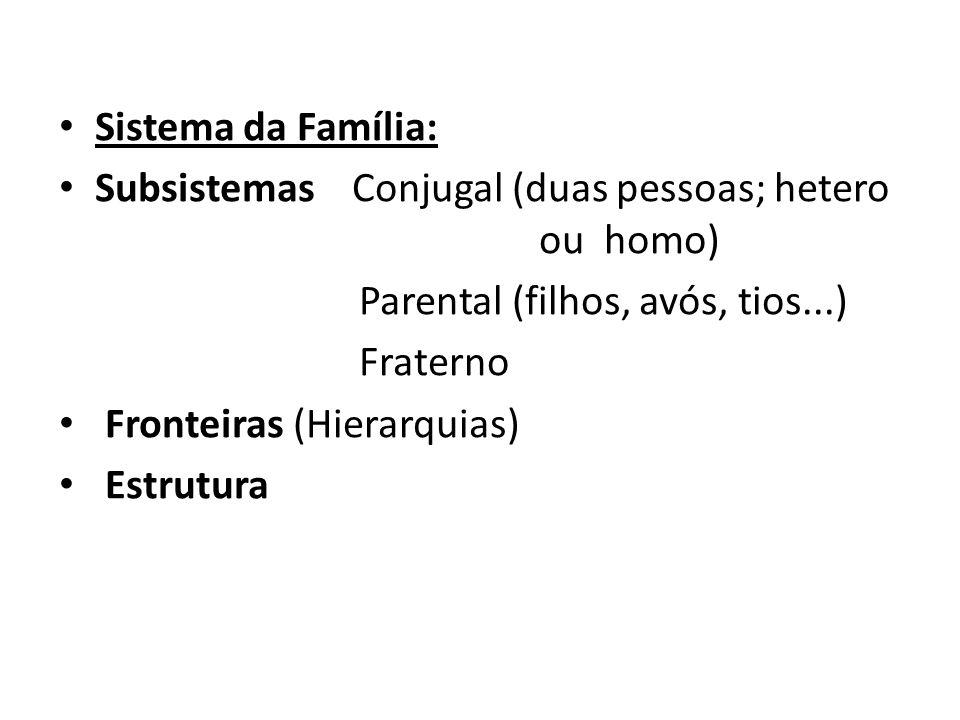 Sistema da Família: Subsistemas Conjugal (duas pessoas; hetero ou homo) Parental (filhos, avós, tios...)