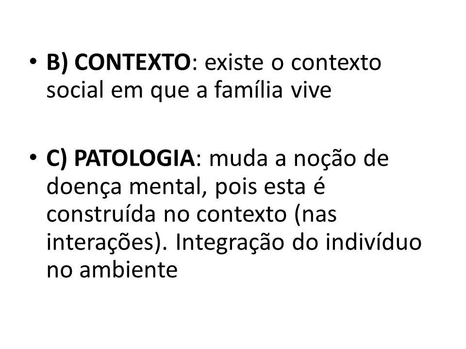 B) CONTEXTO: existe o contexto social em que a família vive