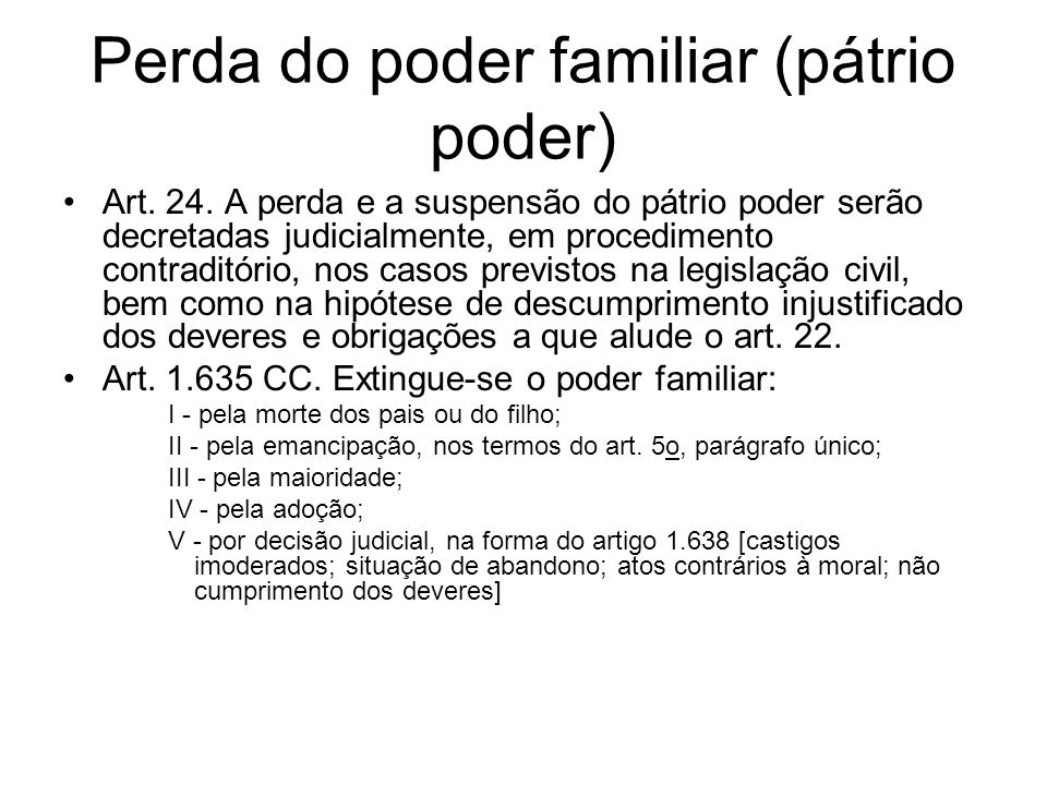 Perda do poder familiar (pátrio poder)