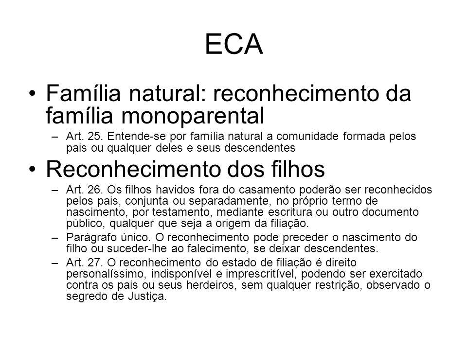 ECA Família natural: reconhecimento da família monoparental