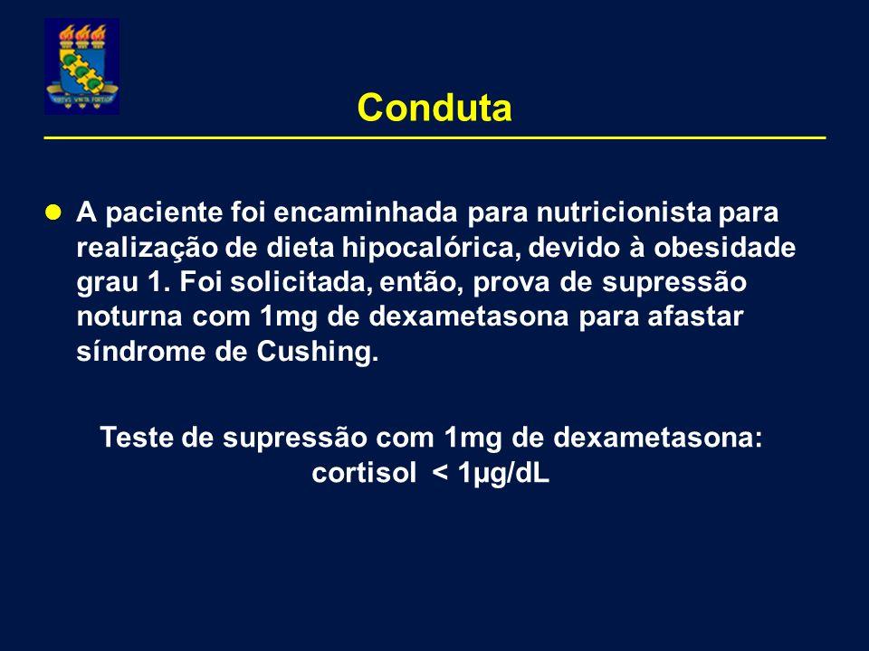 Teste de supressão com 1mg de dexametasona: cortisol < 1µg/dL