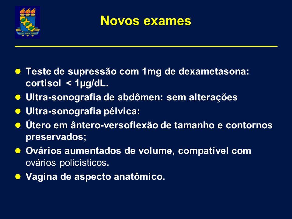 Novos exames Teste de supressão com 1mg de dexametasona: cortisol < 1µg/dL. Ultra-sonografia de abdômen: sem alterações.