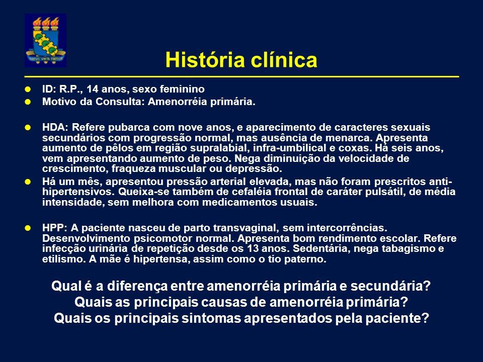 História clínica ID: R.P., 14 anos, sexo feminino. Motivo da Consulta: Amenorréia primária.