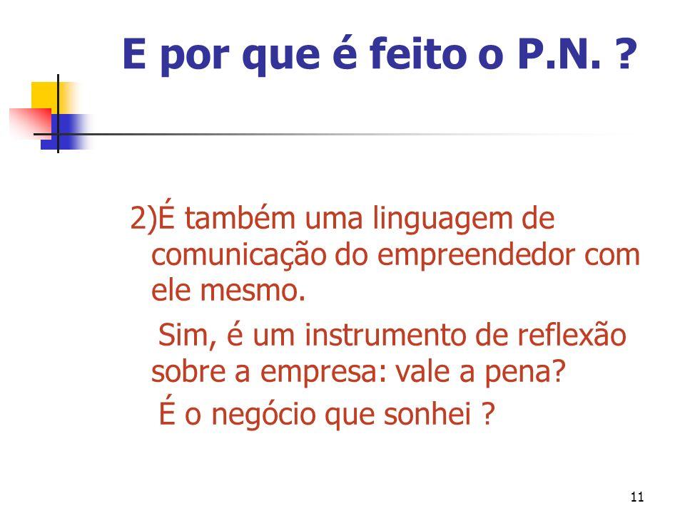E por que é feito o P.N. 2)É também uma linguagem de comunicação do empreendedor com ele mesmo.