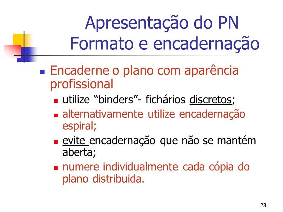 Apresentação do PN Formato e encadernação