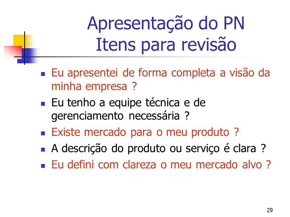 Apresentação do PN Itens para revisão