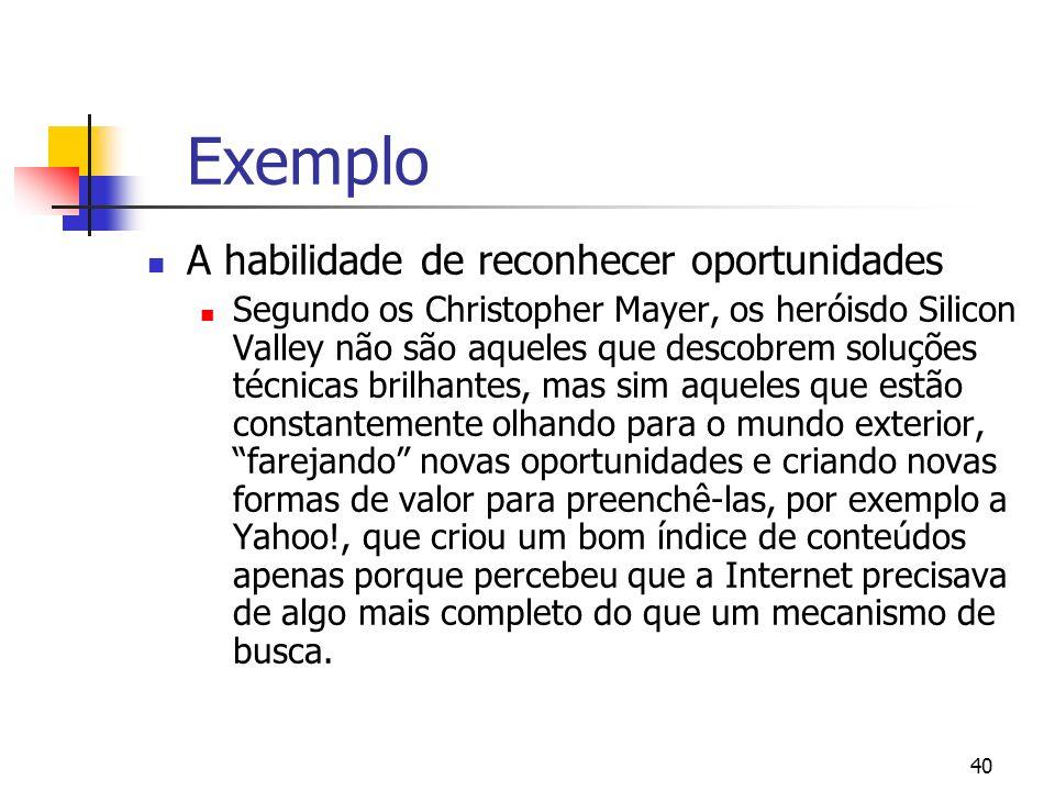 Exemplo A habilidade de reconhecer oportunidades
