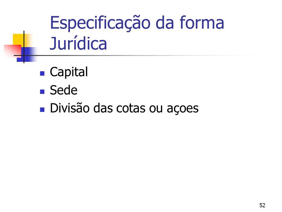 Especificação da forma Jurídica