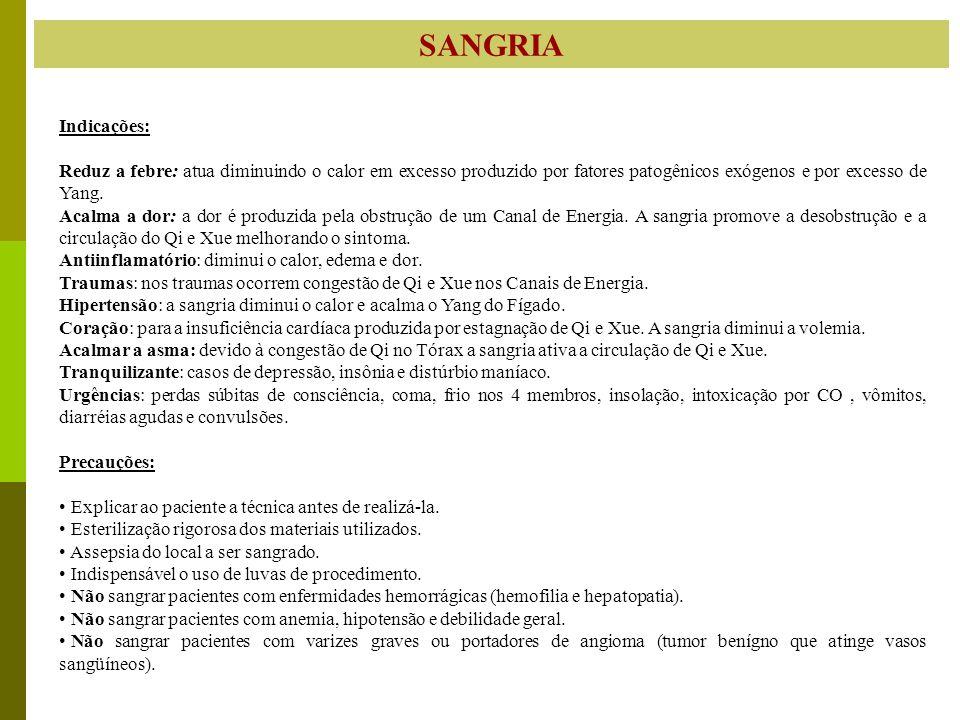 SANGRIA Indicações: Reduz a febre: atua diminuindo o calor em excesso produzido por fatores patogênicos exógenos e por excesso de Yang.
